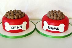 """Smash cake - Fondant with butter cream """"kibble"""". Shared by Career Path Design. Cupcake Tier, Cupcake Cookies, Puppy Birthday Cakes, Dog Birthday, Birthday Ideas, Birthday Parties, Puppy Cake, Bowl Cake, Cake Shapes"""