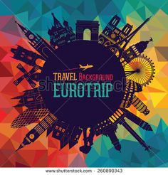 Europe skyline silhouette. Vector illustration - stock vector