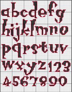 Spooky Needlepoint Charts | Scary Spooky Haloween Alphabet Lower Case