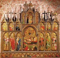 Lorenzo Veneziano, The Proti Altarpiece, Vicenza Cathedral. Medieval Pattern, Italian Art, Tempera, 14th Century, Siena, Venice, Cathedral, Detail, Painting