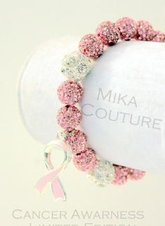 Breast Cancer Swarovski Shamballa Charm Bracelet,  Jewelry, breast cancer awareness bracelet shamballa pink, Awareness