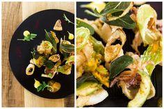 Frittura di calamari, porri, fiori di zucca e salvia. #frittura #nostranopesaro #cartanostrano