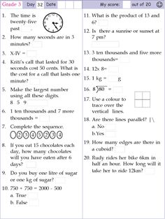 Mental Math Grade 3 Day 32 2nd Grade Reading Worksheets, 3rd Grade Math Worksheets, Free Math Worksheets, Math Olympiad, Math Pages, Math Formulas, Math Test, Math Word Problems, Basic Math