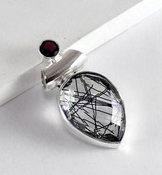Faceted Tourmaline Quartz Pendant with Garnet - pinned by pin4etsy.com
