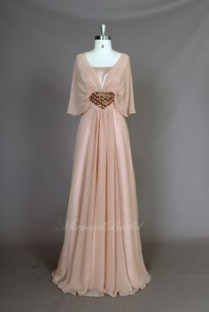 New arrival champagne chiffon modest prom dress, prom evening gowns with elegant beading. $158.99, via Etsy.