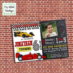 Racecar birthday invitation race car party kids by myooakboutique