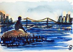 East River 26x36 cm - Série New York - 2017- new york city, aquarelle, watercolor