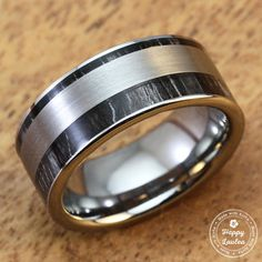 Tungsten Carbide Ring with Ebony Gabon Wood Inlay (9mm Width, Flat Style, Comfort Fit)