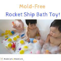 Keep mold out of the tub with Marcus & Marcus' Mold-Free Rocket Ship bath toy!  It even has heat sensing technology that changes the color of the rocket ship if the bath water is too hot, what's not to love?!