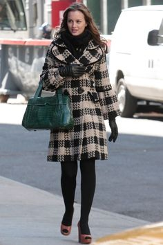 Leighton Meester in a checked coat on the Gossip Girl set