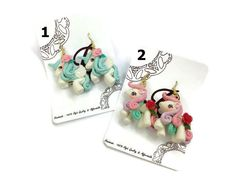 Earrings Unicon Dangle Polymer clay  ER014 by SweetieTiny on Etsy, $8.99