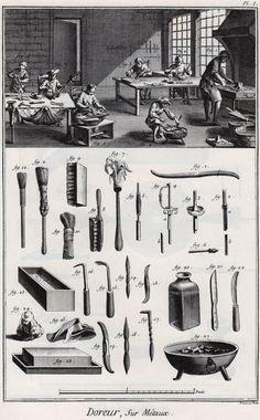 Metal Gilder – Diderot's Encyclopedia 1763. Detail: brush, scrubber, files, scrapers, bottle, knife, brazier, sponge, sword hilt, bench, tub, workmen, workshop, vice, hearth, bellows, chair, basin.