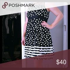 Black and white maternity dress Like new condition! Wore once for a few hours at a wedding! Size Medium. See through fabric around the shoulders, black and white polka dot, black and white stripes along the bottom. Very comfortable! Motherhood Maternity Dresses Midi