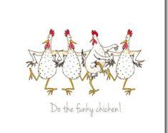 Carte de poulet - Do la carte de voeux poulet Funky - carte d'anniversaire, blanc à l'intérieur