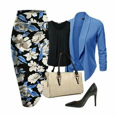 We are still crushing on these beautiful printed pencil skirts and blazer jacket ensemble. They are available in a variety of colors and are only a click away. Business Casual Outfits, Professional Outfits, Classy Outfits, Chic Outfits, Skirt Outfits, Complete Outfits, Mode Outfits, Work Attire, Mode Style