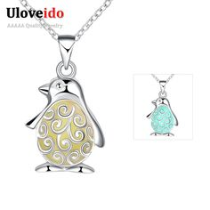 Find More Pendant Necklaces Information about Fashion Animal Penguin Pendant Necklace Silver Jewelry for Women Kids Bijouterie Gift Glow in The Dark Choker Accessories N017,High Quality N017 from Ulovestore Jewelry on Aliexpress.com