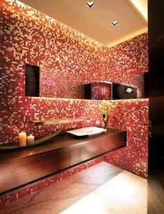 "Mosaic: Custom #ShadingBlend #Vitreo #Brillante #Aureo (2 x 2 cm - 3/4"" x 3/4"") - #Palazzo del #mar residence, #Fisher #Island, Florida - USA -Designer: Pepe #Calderin #Design - Photographer: Berry #Grossman"