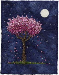 "Moonlight Blossoms 6 ~ by Kirsten Chursinoff, c.2010; embroidery, beading, & quilting on fabric; 5"" x 6 1/4"""