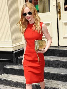 Lady in RED! Kate Bosworth turned heads in a vibrant cherry-hued frock, topped off with classic gold aviator sunnies!
