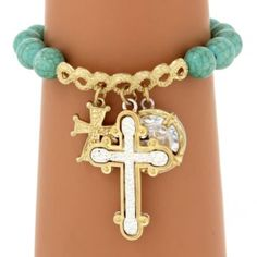 DISCONTINUED? Turquoise Bead and Two-Tone Cross Charm Bracelet #AB7315-WGTQ