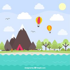 Natural landscape with mountains and a lake Premium Vector