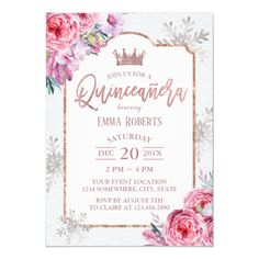 Customizable Invitation made by Zazzle Invitations. Quinceanera Invitations, Birthday Party Invitations, 15th Birthday, Birthday Parties, Snowflake Invitations, Wedding Table Decorations, Create Your Own Invitations, Floral Invitation, Princess Birthday