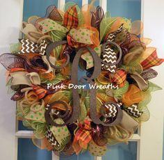 Made to Order Wreath Door FALL THANKSGIVING MONOGRAM scroll vine single triple dark chocolate brown orange green chevron burlap mesh ribbons by PinkDoorWreaths on Etsy