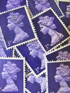 Deep Purple 50 Vintage 1960s 3d Machin UK Postage Stamps Queen Elizabeth Great Britain UK Queen Mum GB British Philately