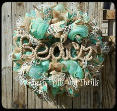 Etsy の Deco Mesh Wreath-Beach House by SouthernThrills