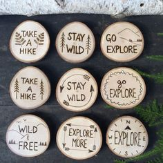 Items similar to Rustic Wood Burned outdoors inspiration magnets. Stay Wild, Go Explore, or Take a Hike with ferns, trees, or mountains on a slice of wood on Etsy – Wood Burning Pattern Wood Slice Crafts, Wood Burning Crafts, Wood Burning Patterns, Wood Burning Art, Rustic Wood Crafts, Wood Burning Projects, Natural Wood Crafts, Driftwood Crafts, Wood Projects