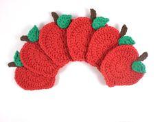 Apple Crochet Coaster Apple Kitchen Decor Crochet by ProchetByEAS, $24.00