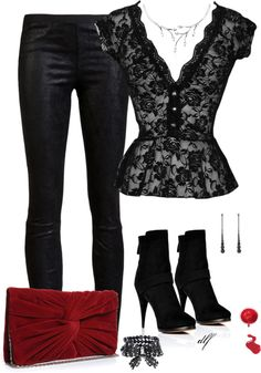 """""""Leather and Lace"""" by tdfediuk ❤ liked on Polyvore .... Different pair of shoes and I'd rock that!"""