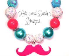 Mustache chunky necklace bubblegum necklace by LolaandDarlaDesigns, $20.00
