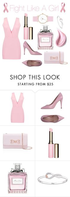 """Fight like a girl 💪♡"" by zaharaaa ❤ liked on Polyvore featuring Ted Baker, Clarins, Christian Dior, The Bradford Exchange, Laruze, Pink, breastcancerawareness and fightlikeagirl"