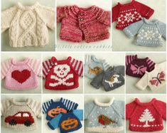 Toy knitting pattern for a seasonal selection of sweaters