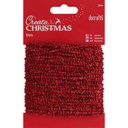 docrafts Create Christmas 20m Sparkly Trim - Red