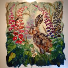 Marmaladerose.co.uk. The original, wet-felted wool, animal art. 'Summer Spires', made from hand felted wool.