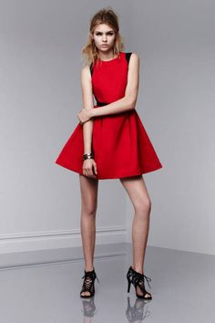Dress with full skirt in Apple red and black, $49.99; crystal stone cutout bangle, $24.99; crystal stone tassel earrings, $16.99; lace-up pumps in Meet The Parents print, $39.99  http://racked.com/archives/2013/01/11/boom-the-entire-prabal-gurung-x-target-lookbook-has-landed.php