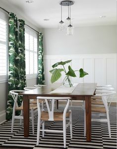 A Whole House Before and After You Need to See to Believe//palm leaf fabric, stripe rug, Hans Wegner, wishbone chair