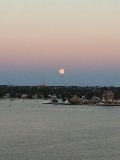 Moon rising over Newport, RI