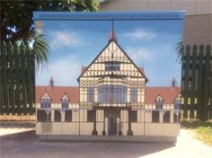 The Bath House, Rotorua Museum depicted here by Nicola Spijkerbosch on a Chorus Cabinet Arts And Crafts, Museum, Bath, Sculpture, Cabinet, Mansions, House Styles, Artist, Clothes Stand