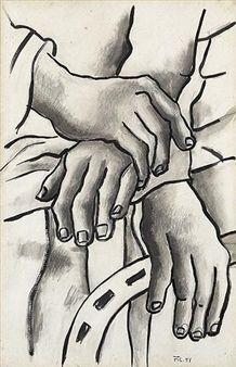 DESSIN AUX MAINS By Fernand Léger ,1951