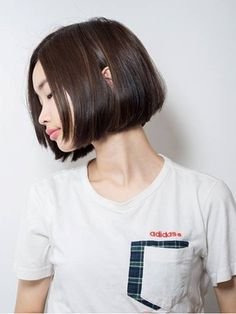 【keep hair design】黒髪ボブ×前髪なし【by三橋】/keep hair des. Short Bob Haircuts, Cute Hairstyles For Short Hair, Bob Styles, Short Hair Styles, Cute Shorts, Hair Designs, Salons, Hair Cuts, Hair Color