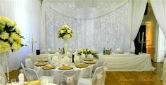 Weddings Decoration, Beautiful wedding table centerpiece hire & Venue Styling, Caribbean Caterers Catering for Weddings, 327 827 Buffet/Staff &Tableware Inc Reanne Michelle Wedding Catering, Wedding Events, Wedding Table Centerpieces, Wedding Decorations, Chair Sashes, Town Hall, Chair Covers, Table Linens, Event Decor