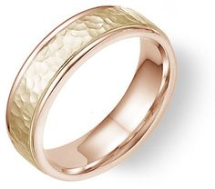 14K Rose and Yellow Gold Hammered Wedding Band Ring Jewelry $675.00