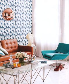 loving everything (but the coral) : tom dixon lighting, ferm living wallpaper, turquoise chair, etc. My Living Room, Home And Living, Living Spaces, Living Area, Turquoise Chair, Teal Chair, Turquoise Accents, Deco Retro, Retro Chic