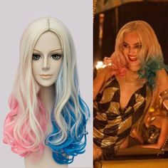 New!! Movie Suicide Squad Harley Quinn Cosplay Wig Multi Color Short Curly…