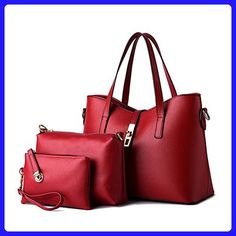 8afb833b7a1c Donalworld Women Handbag Shoulder Bags Tote Purse PU Leather Messenger Bag  Set Red - Shoulder bags