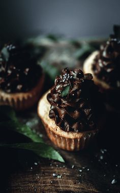 Spiced Apple Cupcakes with Whipped Chocolate Bourbon Ganache