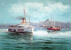 yağlıboya deniz manzara tabloları ile ilgili görsel sonucu Boat Companies, Istanbul City, Ottoman Empire, Landscape Photos, Sailing Ships, Sculpture Art, Watercolor Paintings, Oil Paintings, Comic Art
